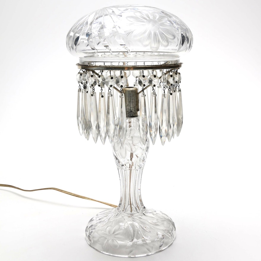 Antique Cut Crystal Table Lamp With Prisms Ebth