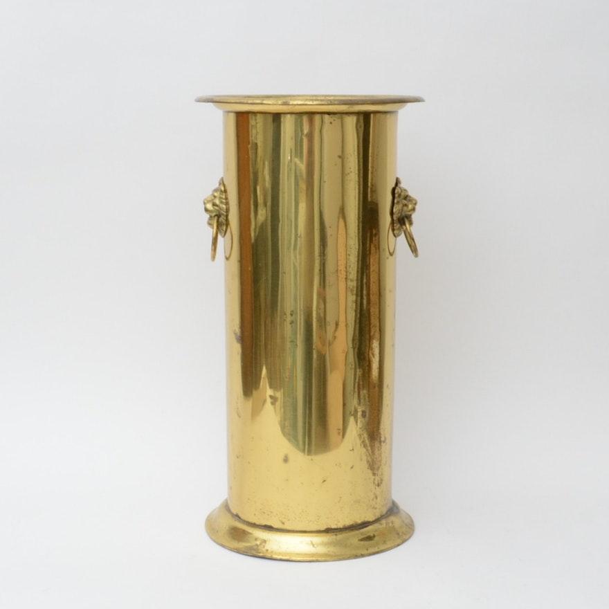 40427cf02d3d Brass Umbrella Stand with Lion Head Handles   EBTH