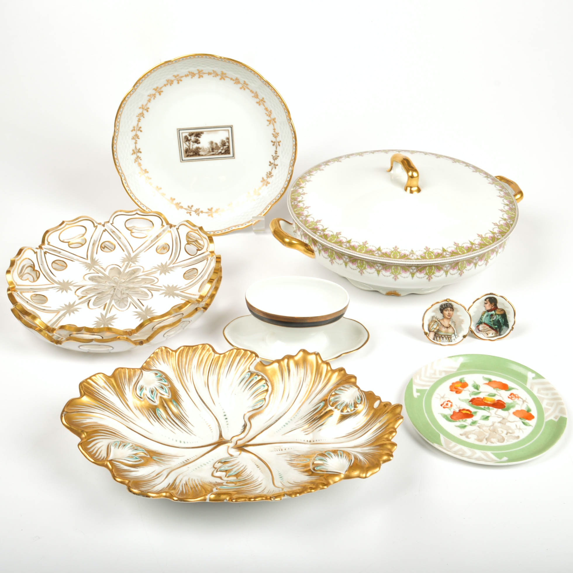 White China, Porcelain and Glass Decor including Tiffany and Limoges