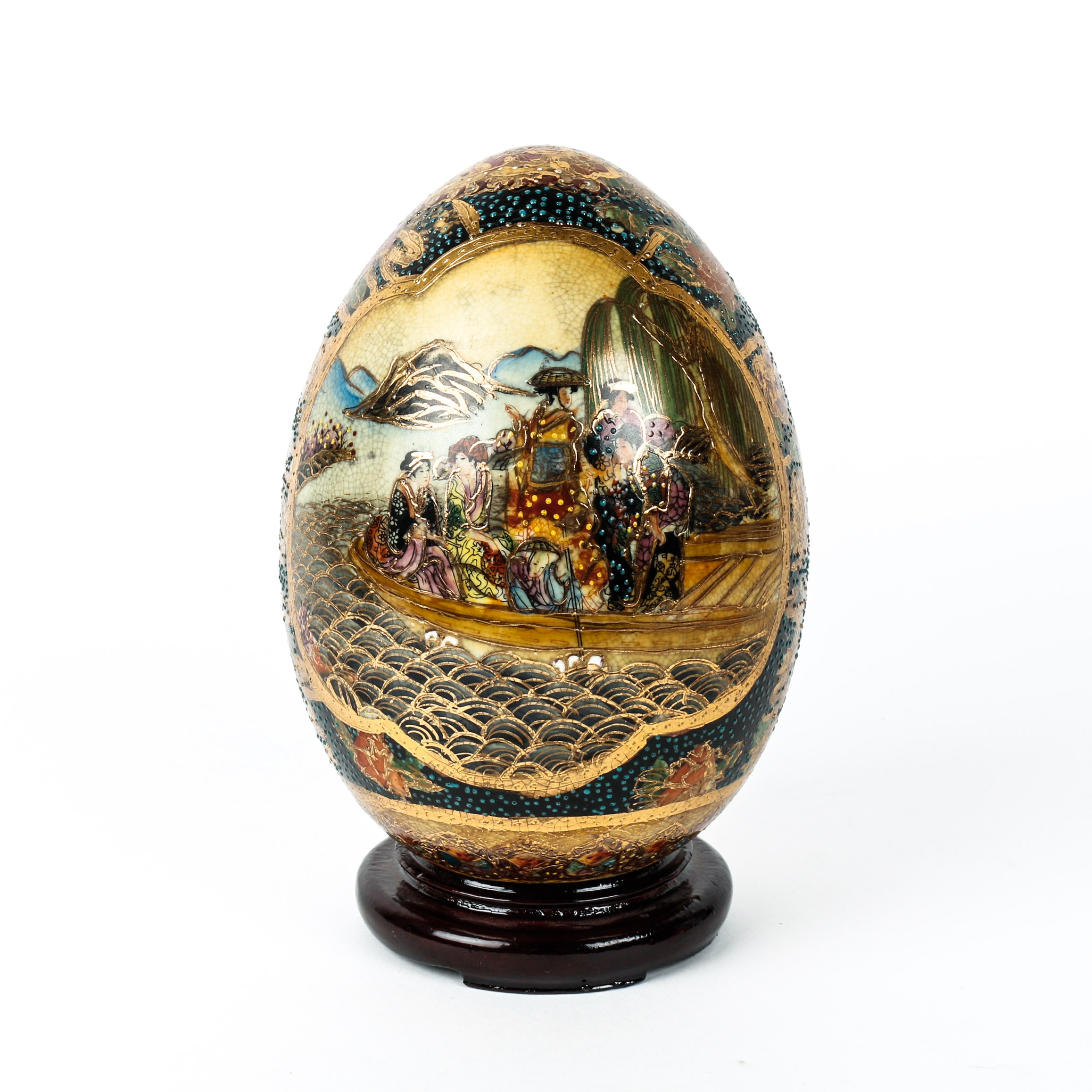 Chinese Satsuma Style Hand Painted Decorative Egg on Wooden Stand
