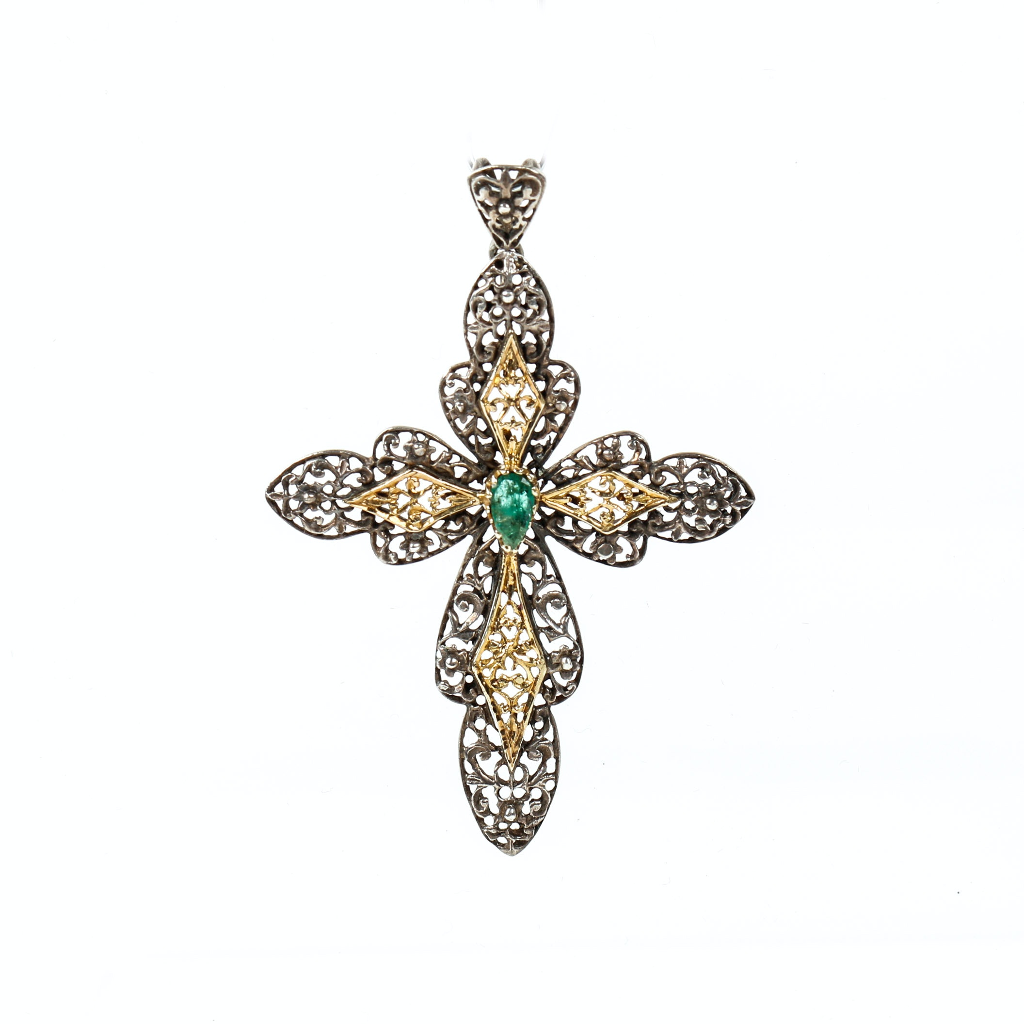 Antique Silver Yellow Gold Plated Accented Emerald Cross Pendant
