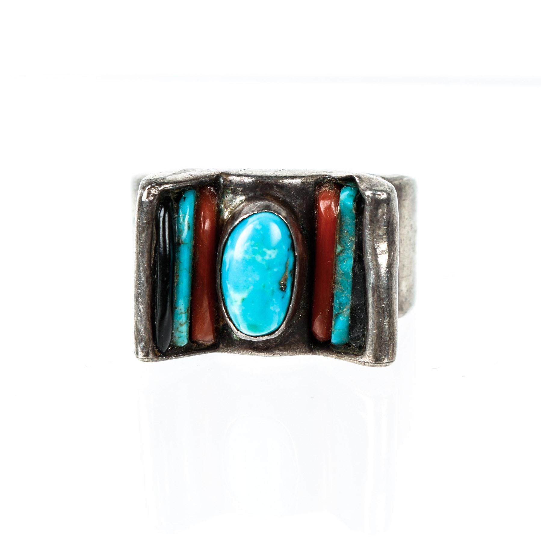 Zuni Native American Roosevelt and Bernice Tekala Multi-Stone Ring