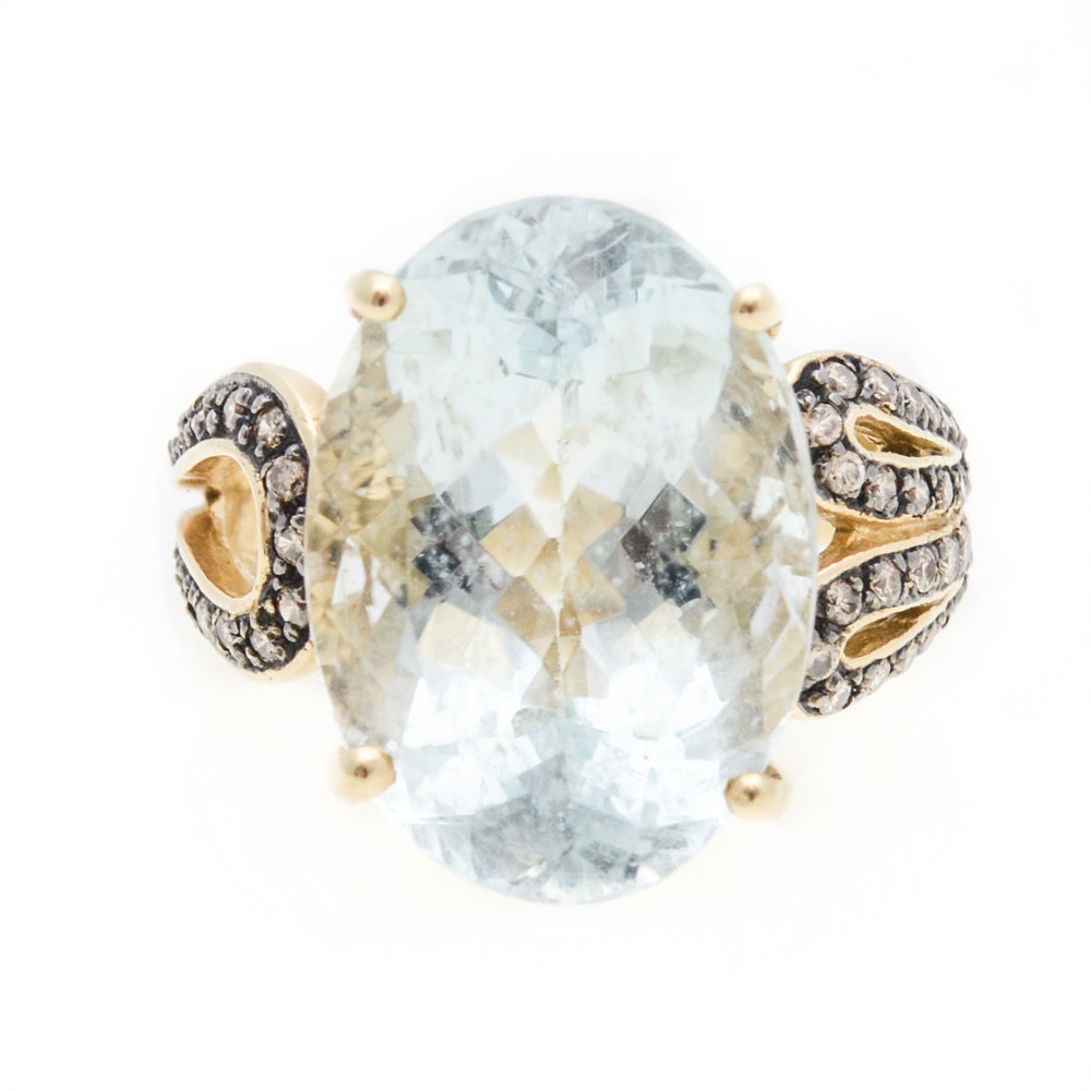 18K Yellow Gold Aquamarine and 0.62 CTW Chocolate Diamond Ring