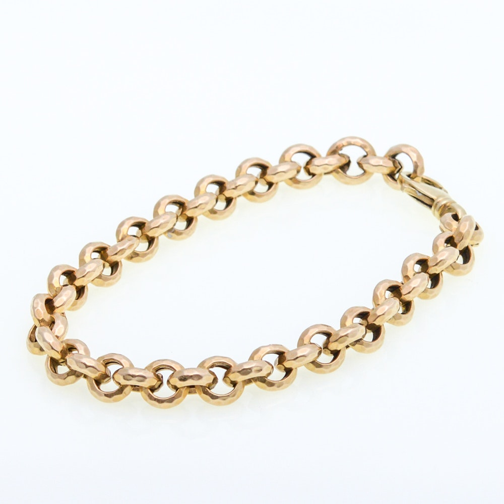 14K Yellow Gold Cable Link Bracelet