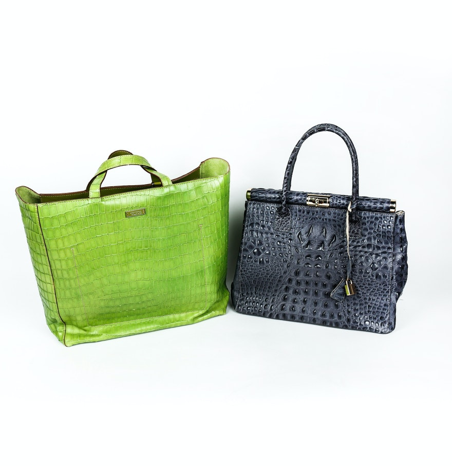 Borse In Pelle Italian Grey Leather Handbag and Lime Green Tumi ...