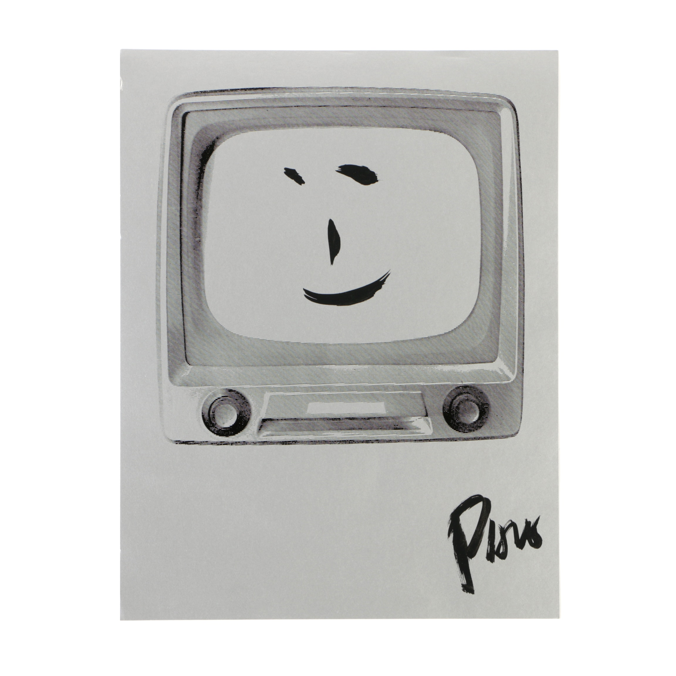 "Nam June Paik Serigraph with Ink Embellishments ""Smiling Face"""