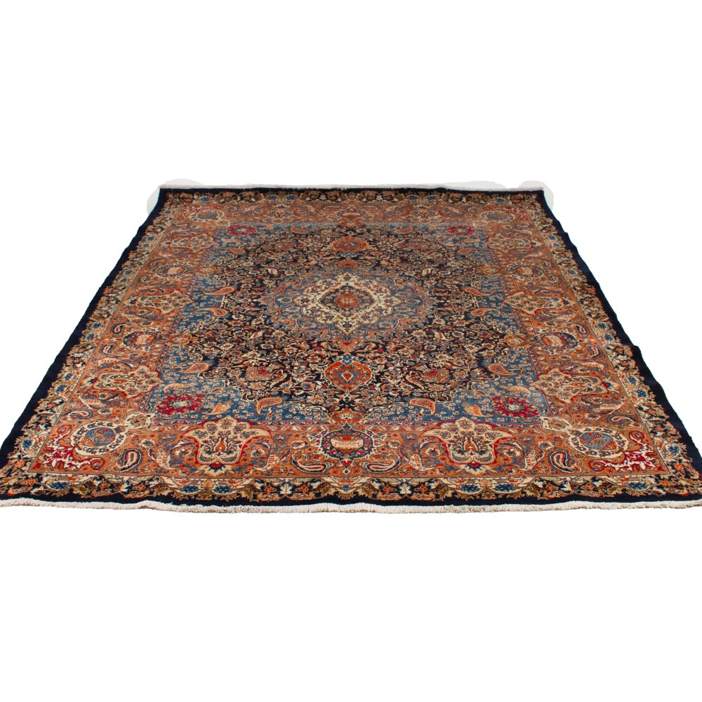 """Semi-Antique Hand Knotted Room Size Persian """"Archealogical"""" Kashmar Rug"""
