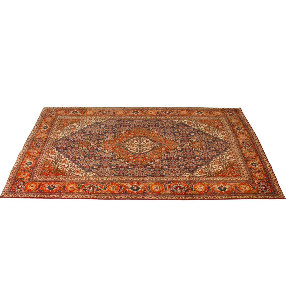 Hand Knotted Persian Senneh Afshari Bijar Room Size Rug