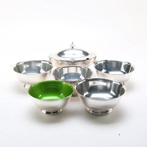 Collection of Silver Plated Paul Revere Style Bowls and Tureen