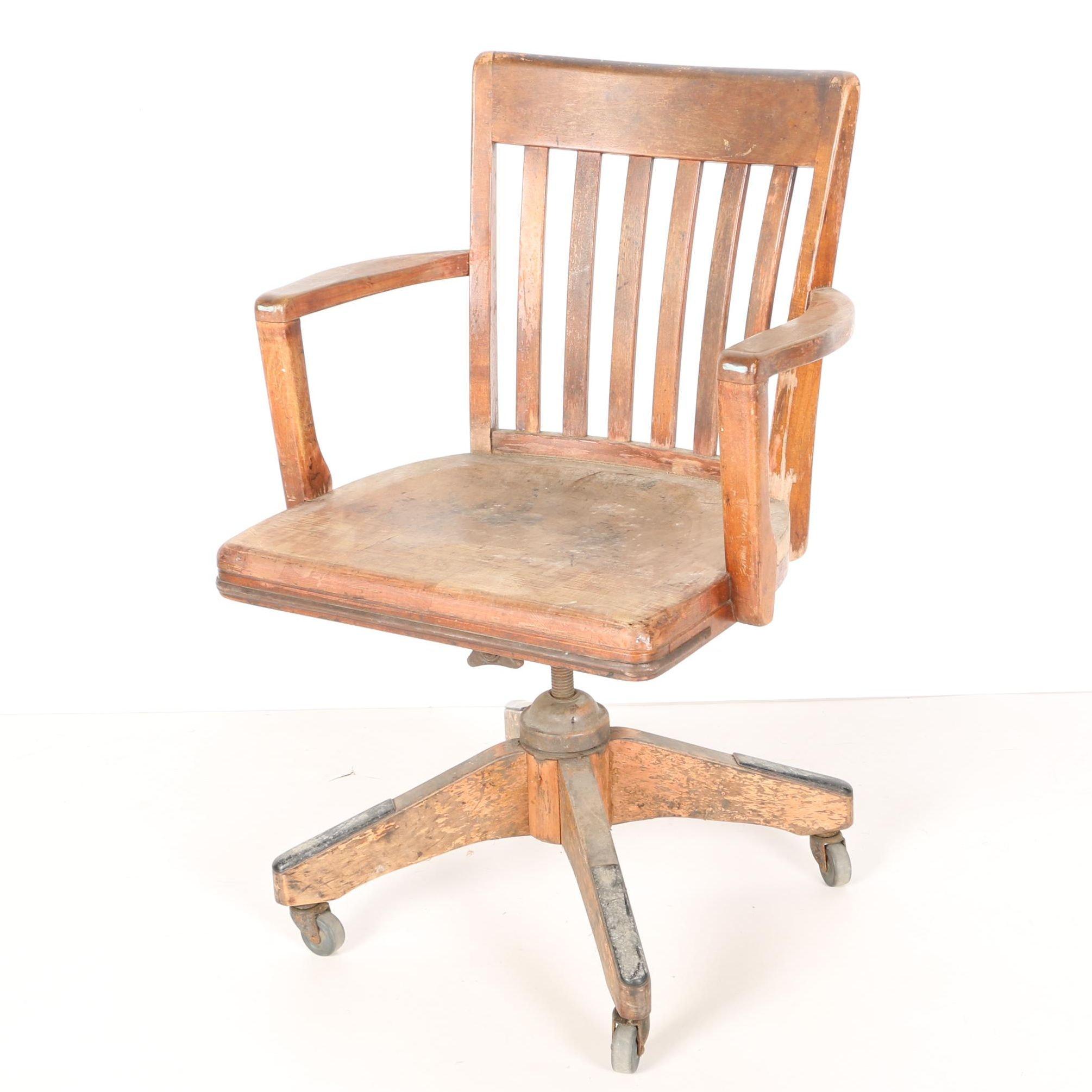 Antique Oak Banker's Rolling Swivel Chair