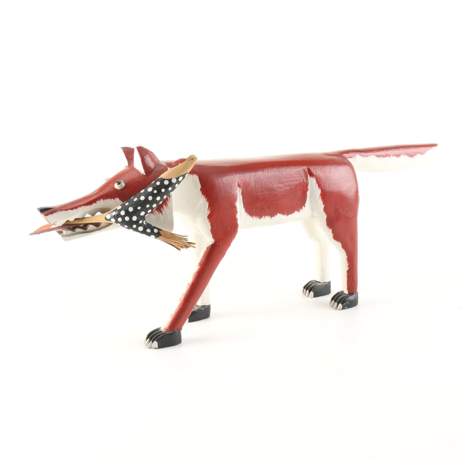 "Lonnie & Twyla Money Folk Art Sculpture, ""Fox with Rooster"""