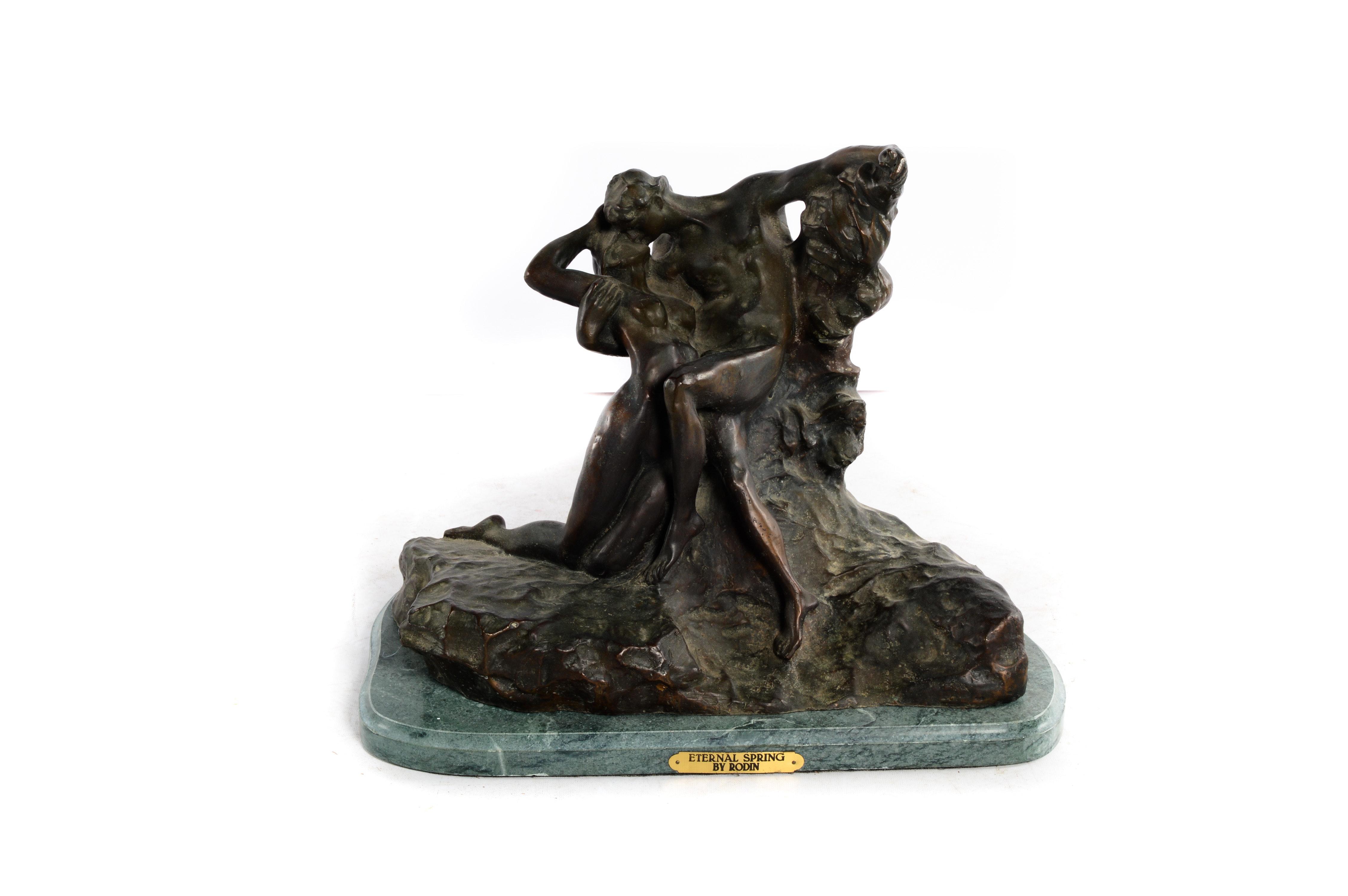 "Bronze Tone Cast Metal Sculpture After Auguste Rodin's ""Eternal Spring"""