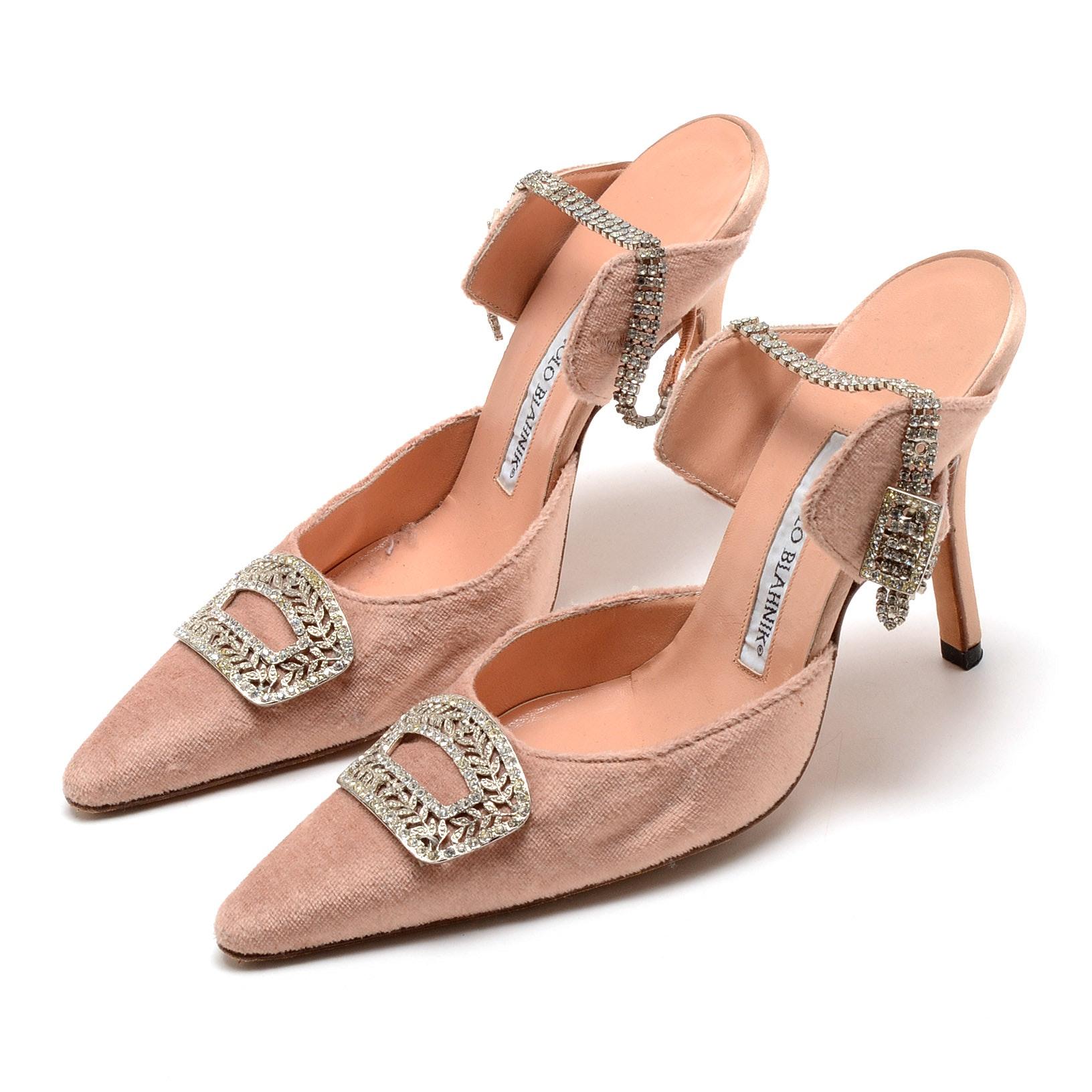 Manolo Blahnik Blush Velvet Satin Leather Ankle Strap Dress Pumps Embellished with Crystal Rhinestones
