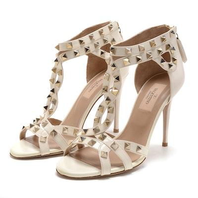 Valentino Garavani Ivory Leather Studded Open Toe Dress Sandals with Stiletto Heel