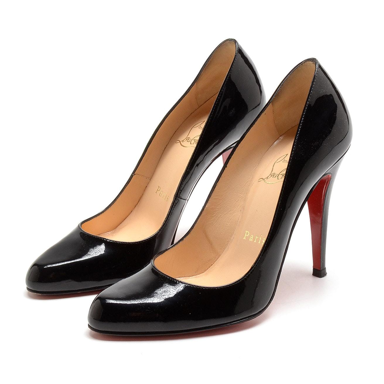 Christian Louboutin of Paris Black Patent Leather Stiletto Dress Pumps