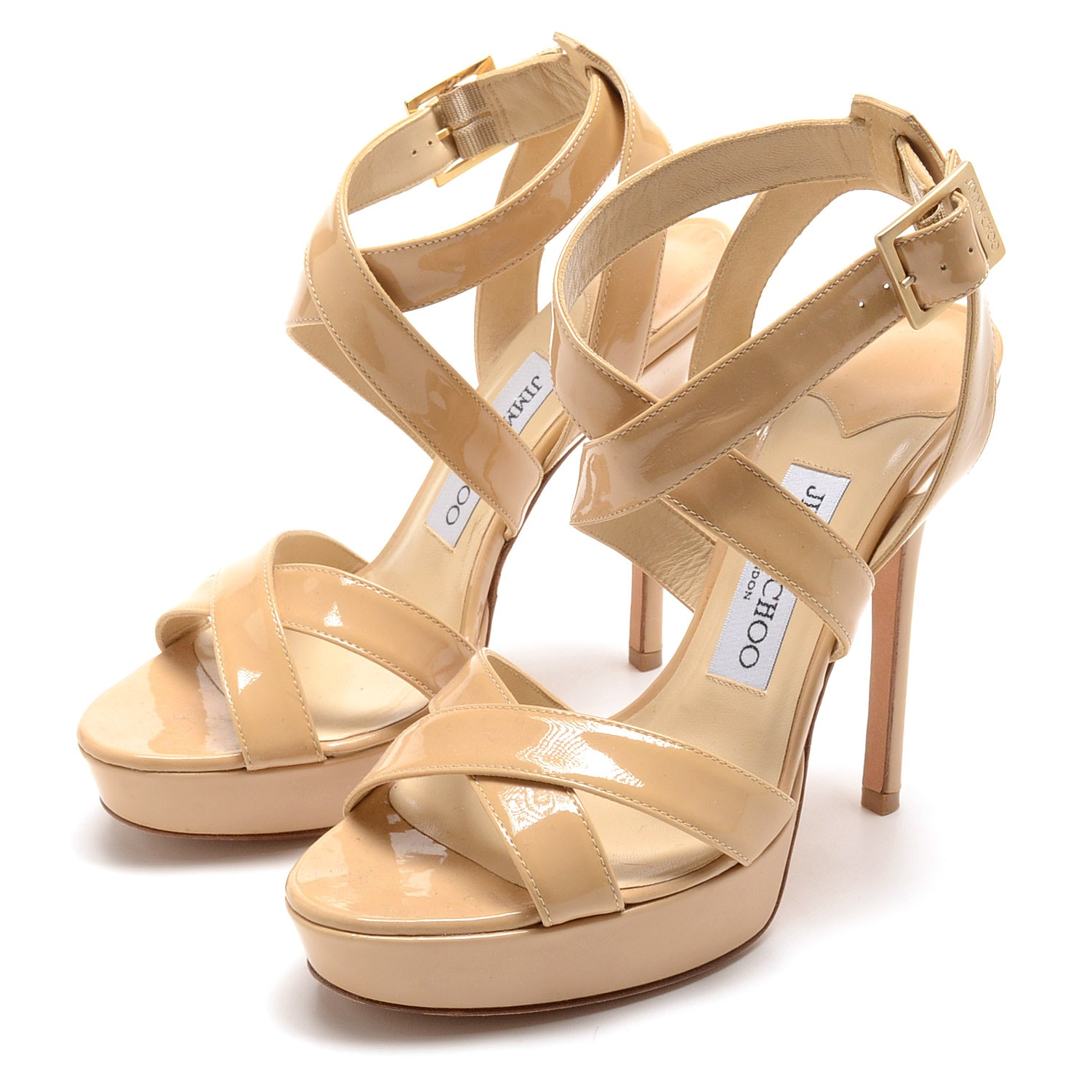 Jimmy Choo of London Butterscotch Patent Leather Platform Strappy Dress Sandals
