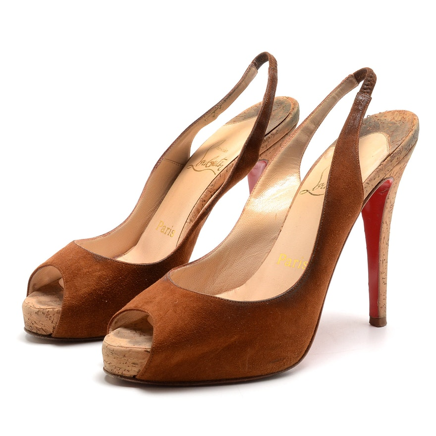 the best attitude 48ef7 5438d Christian Louboutin of Paris Golden Brown Suede Leather and Cork Heel Peep  Toe Sling Backs