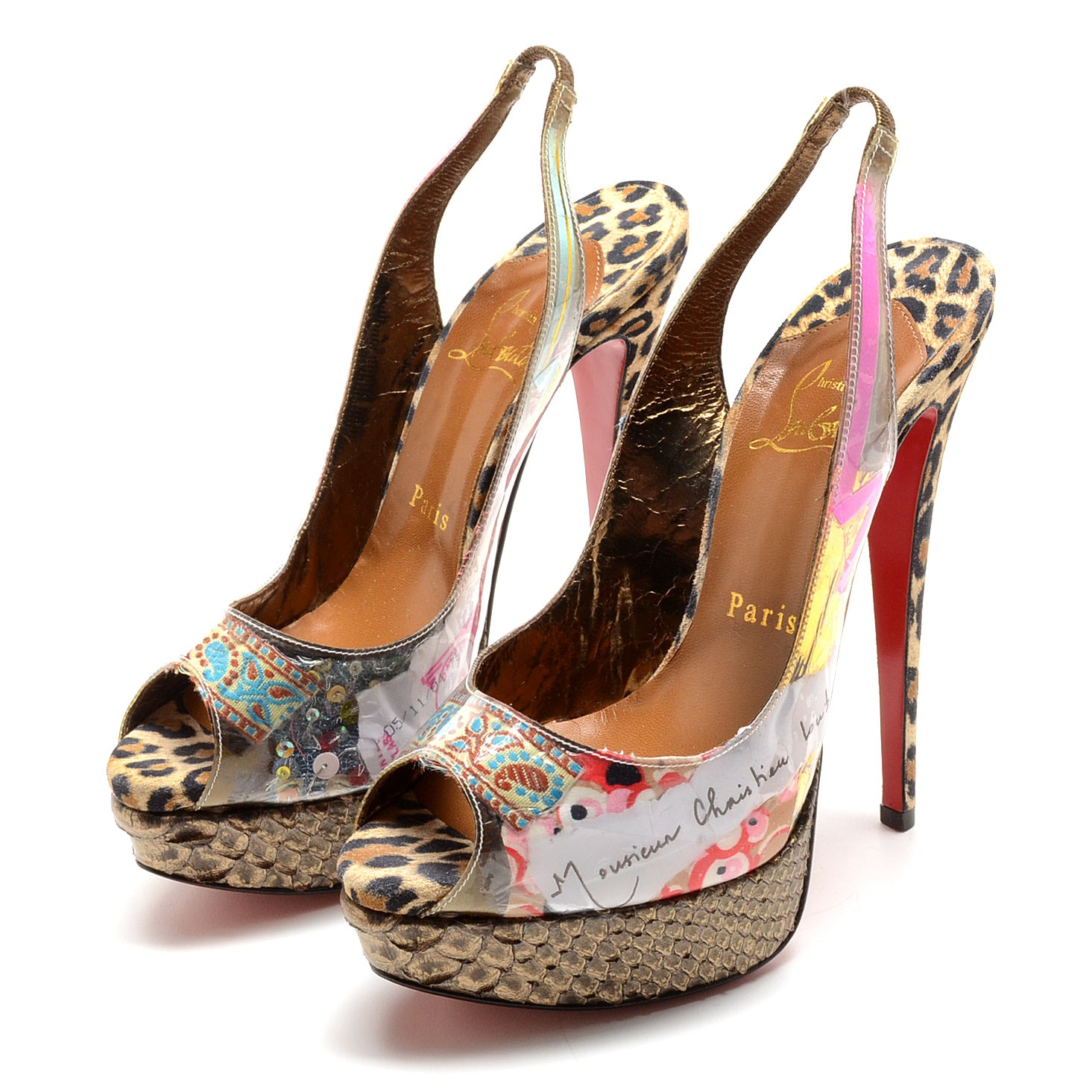 Christian Louboutin of Paris Leopard Print Suede and Decoupage Patent Leather Stiletto Platform Peep Toe Sling Backs