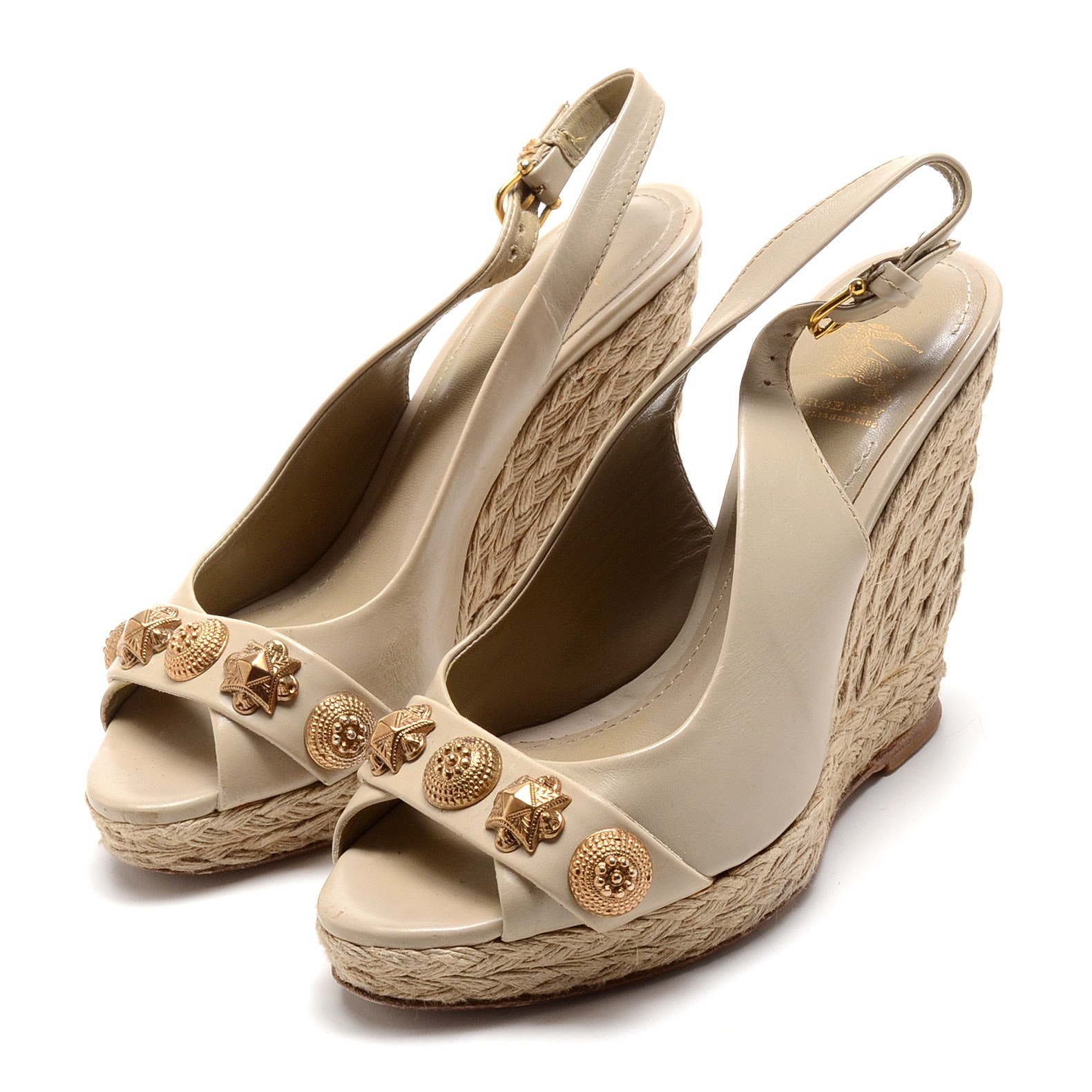 Burberry of London Taupe Leather Platform Peep Toe Espadrille Wedge Sling Back Dress Sandals