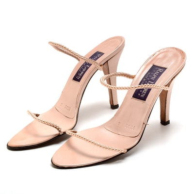 Ralph Lauren Collection Blush Leather Open Toe Sling Back Dress Sandals with Strappy Faux Pearls Susan Wore To The White House State Dinner in Washington, D.C