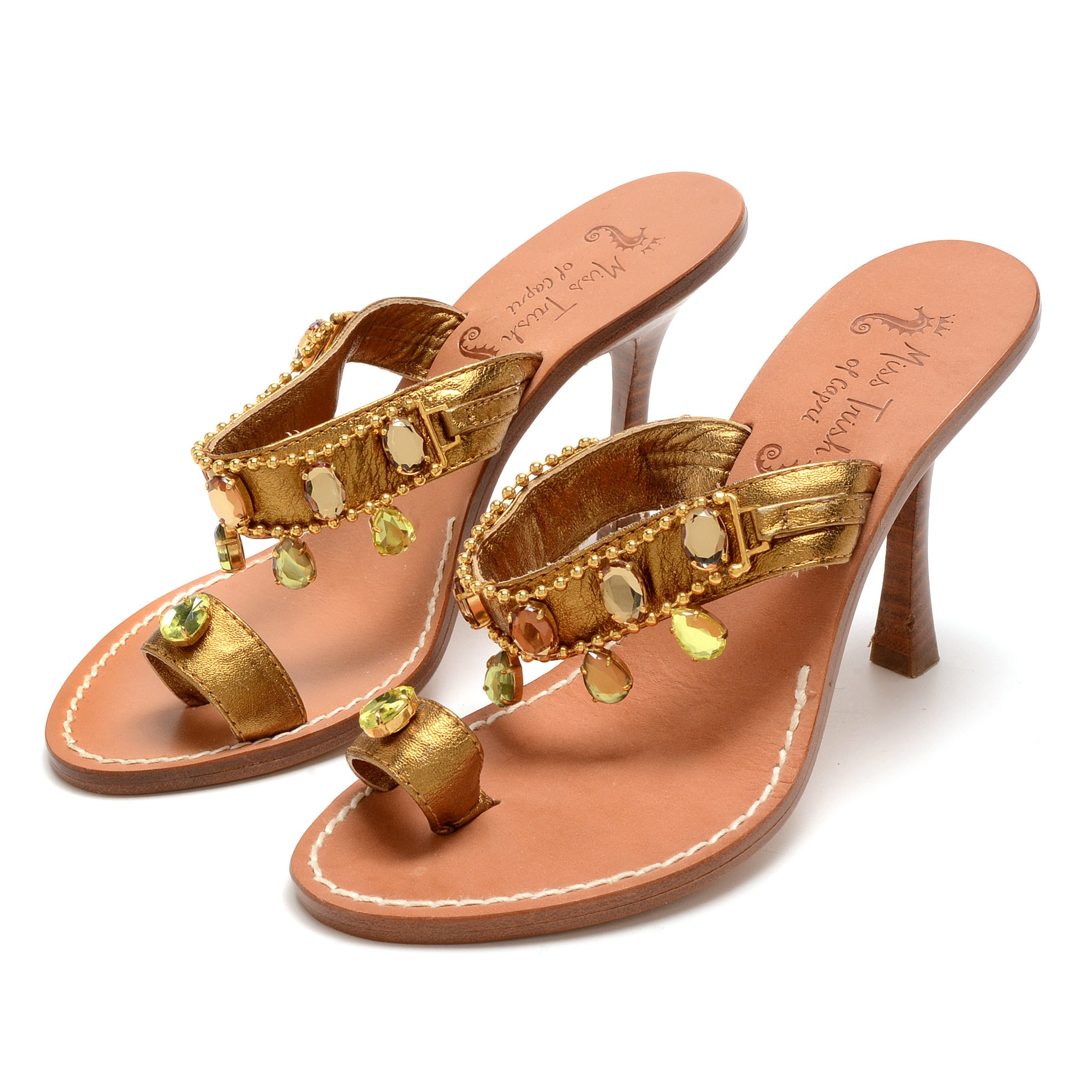 Miss Trish of Capri Rhinestone Embellished Bronze Leather Sandals