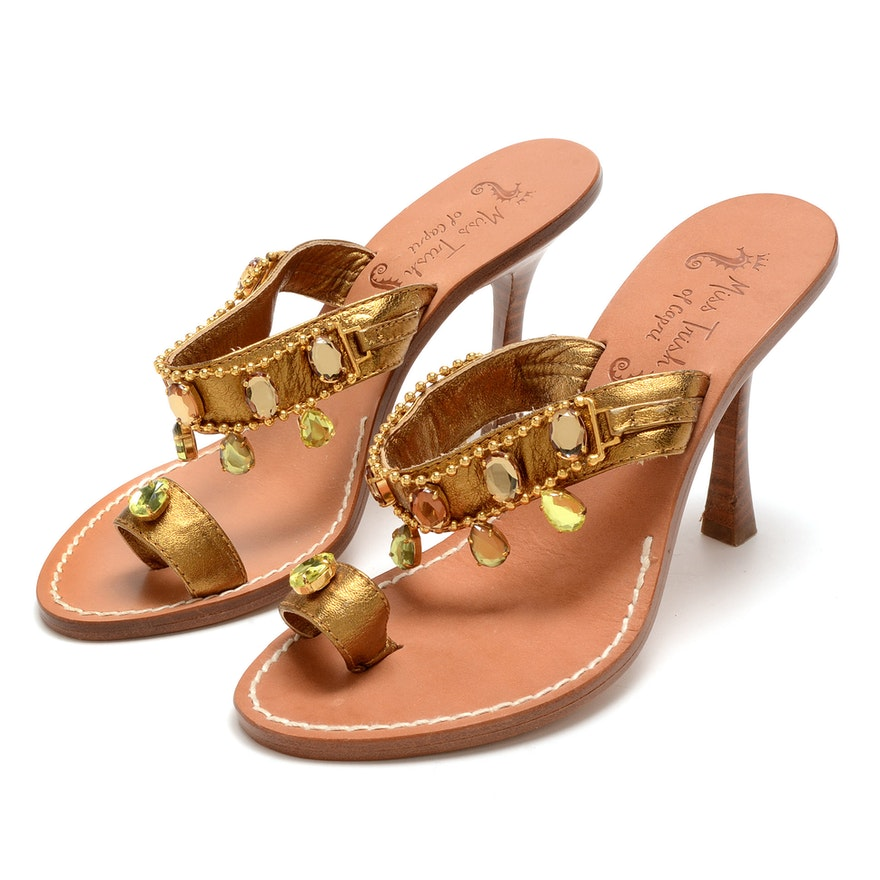 83c1781a47bd49 Miss Trish of Capri Rhinestone Embellished Bronze Leather Sandals   EBTH