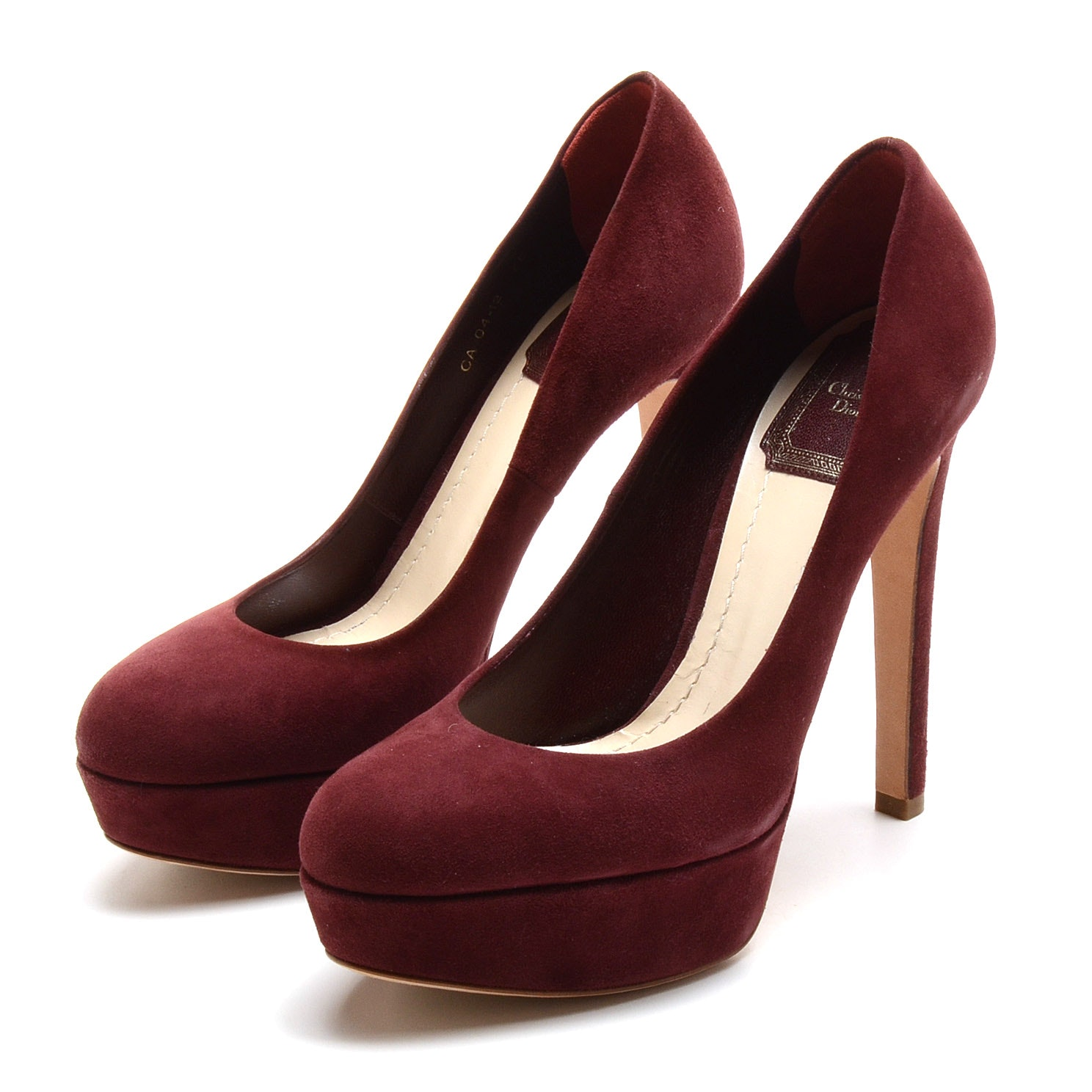 Christian Dior Cabernet Suede Leather Platform Dress Pumps
