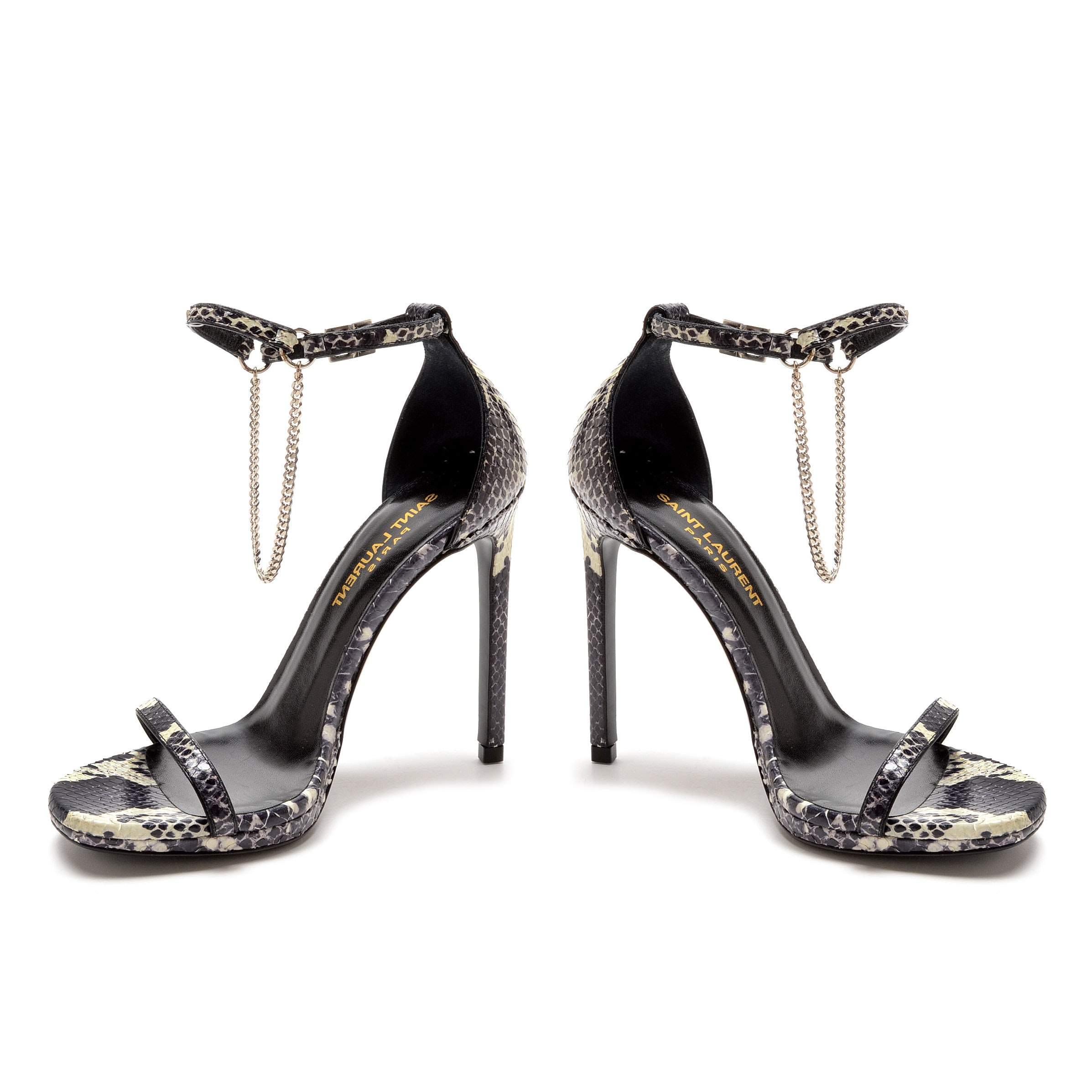 Saint Laurent of Paris Snakeskin Embossed Leather Open Toe Sling Back Dress Sandals with Chain Strap