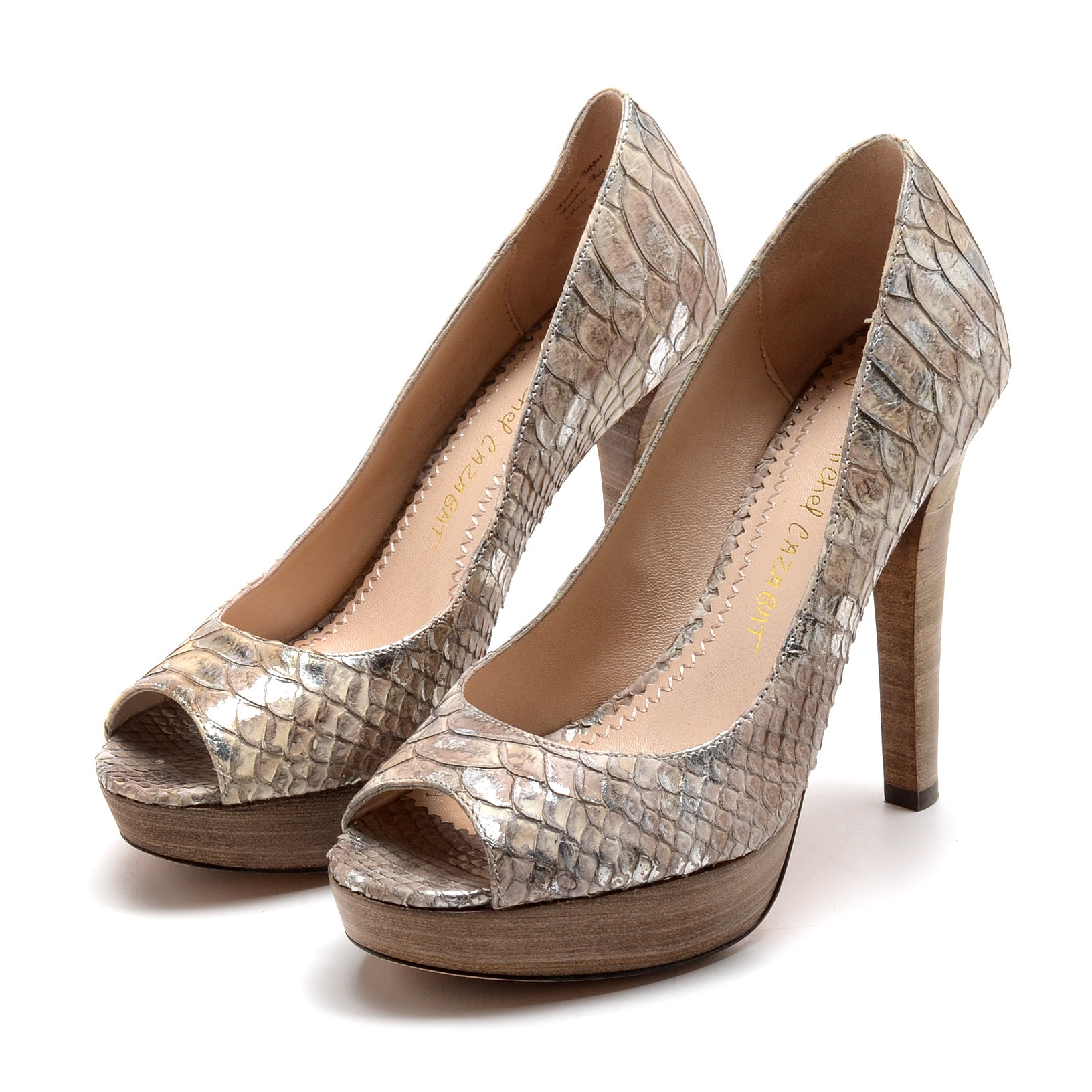 Jean-Michel Cazabat Python Leather Stiletto Platform Peep Toe Dress Pumps