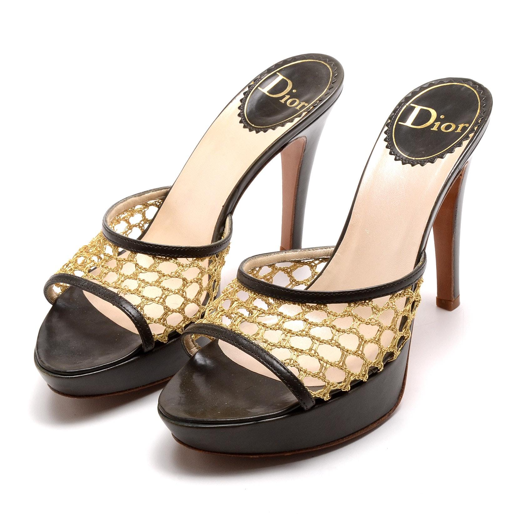 Dior Gold Metallic Woven and Green Leather Platform Slide Sandals