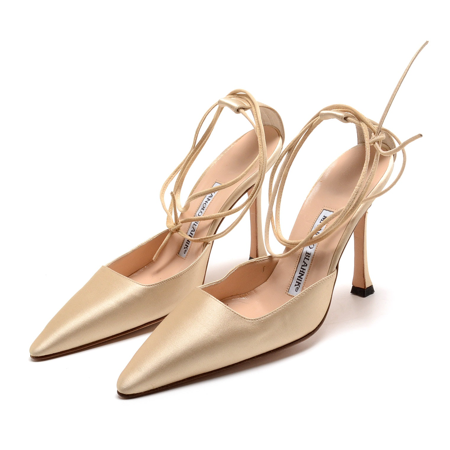 Manolo Blahnik Champagne Silky Satin Leather Ankle Strap Dress Pumps