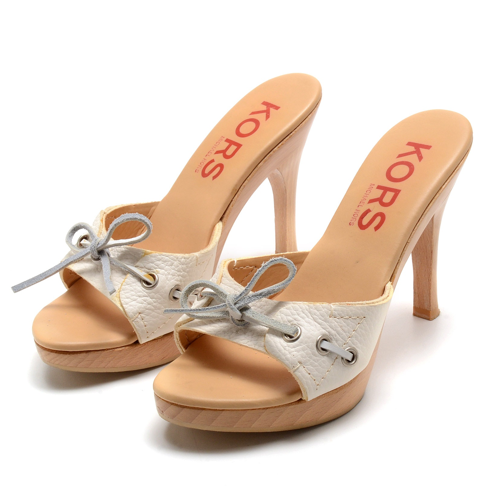 Kors by Michael Kors White Leather Wooden Platform Sandals