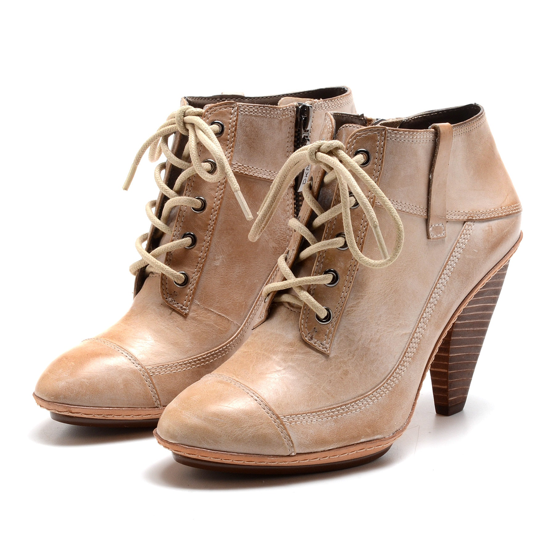 DKNY Camel Leather Lace Up Booties