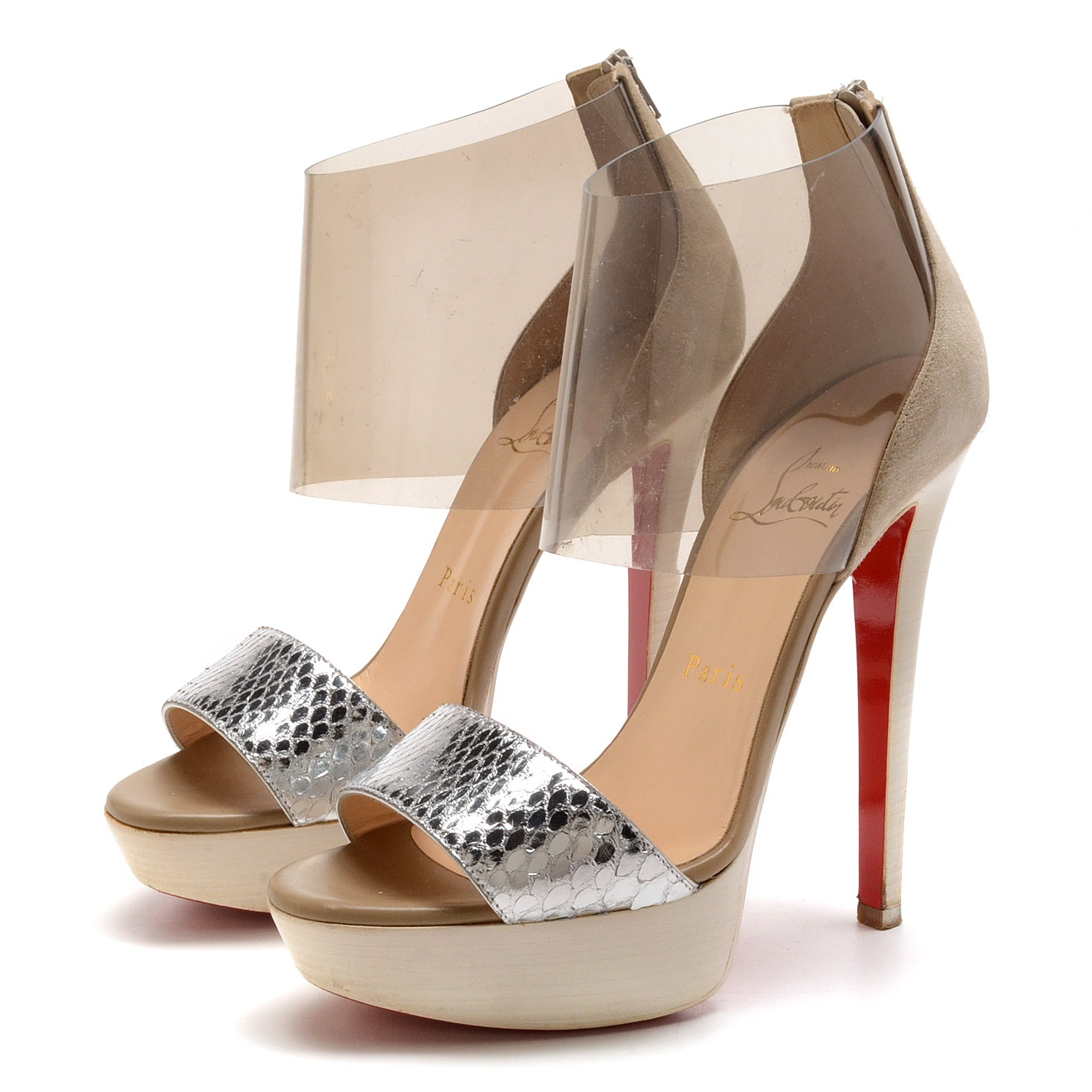 Christian Louboutin of Paris Silver Snakeskin Embossed Metallic and Camel Suede Leather Platform Stiletto Dress Sandals with Vinyl Strap