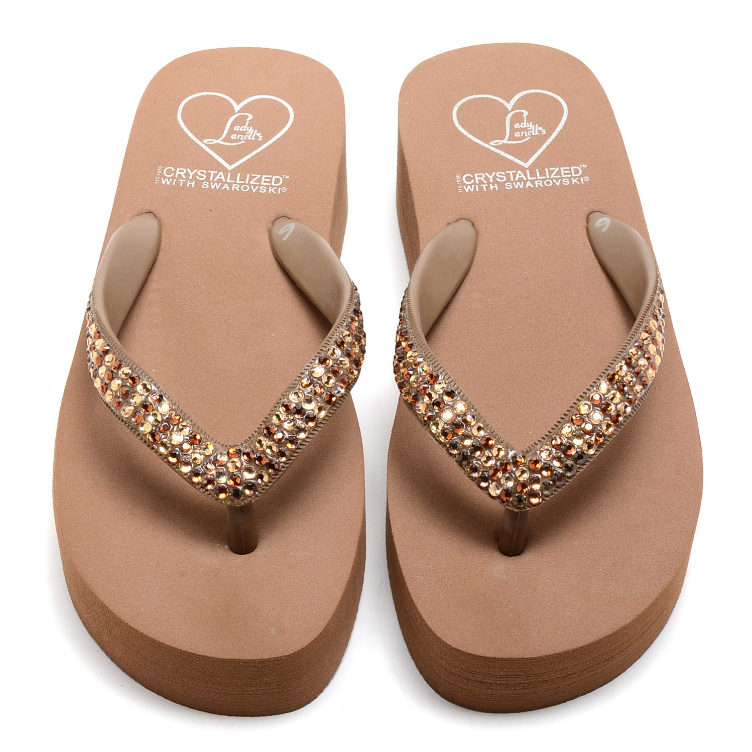 Lady Lanell's Platform Flip Flop Sandals Embellished with Swarovski Crystal Amber and Citrine Hued Rhinestones