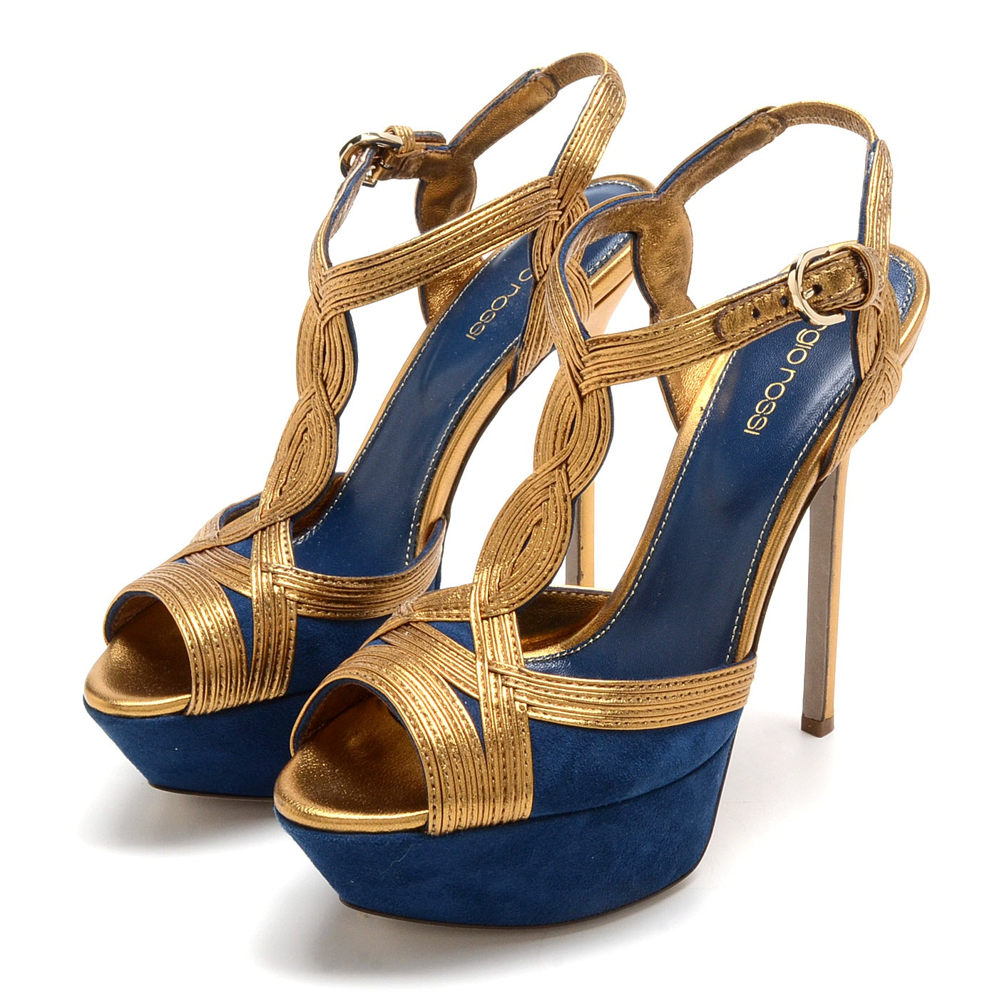 Sergio Rossi Blue Suede and Bronze Metallic Leather Platform Peep Toe Sling Backs with Stiletto Heel