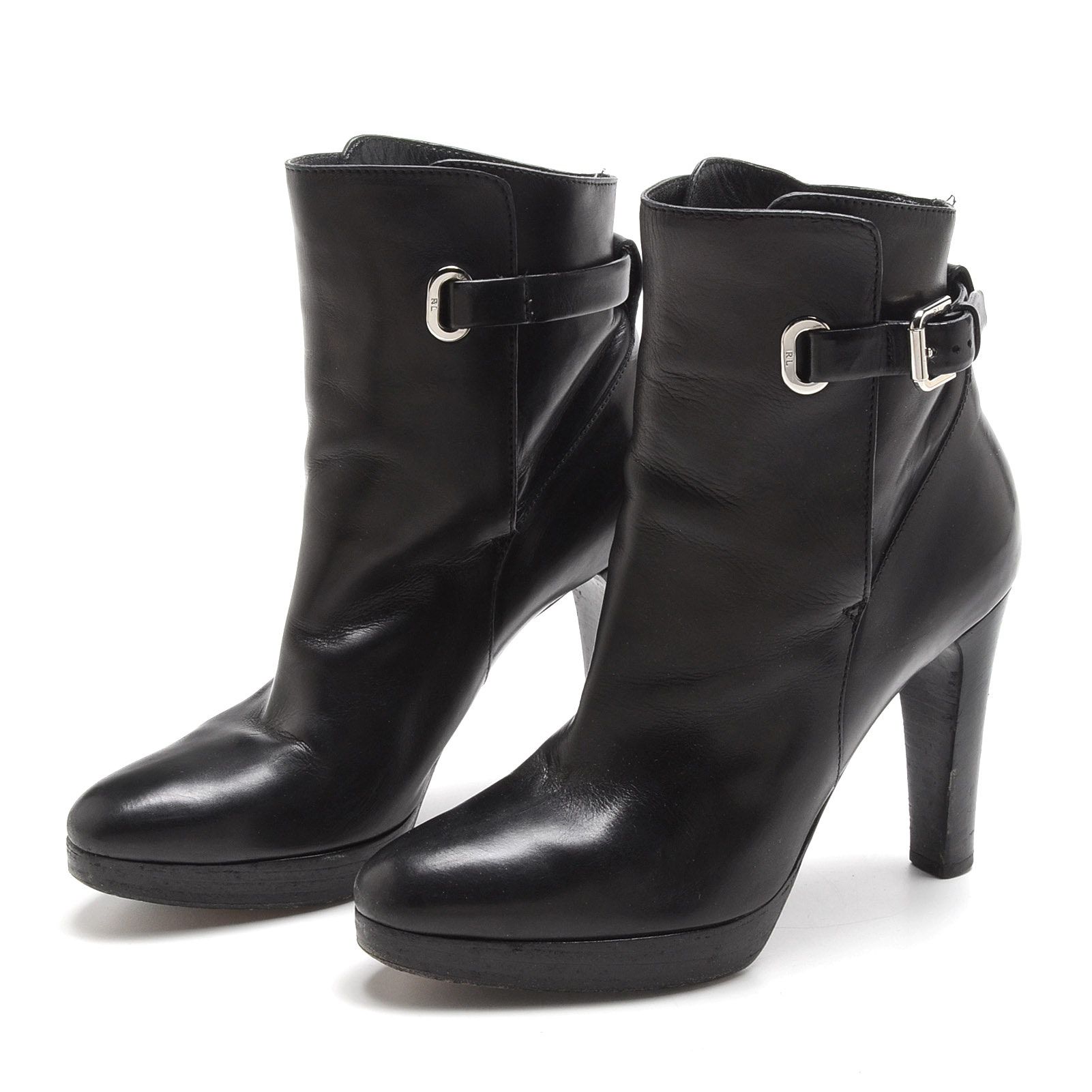 Pair of Ralph Lauren Collection Black Lambskin Leather Platform Booties