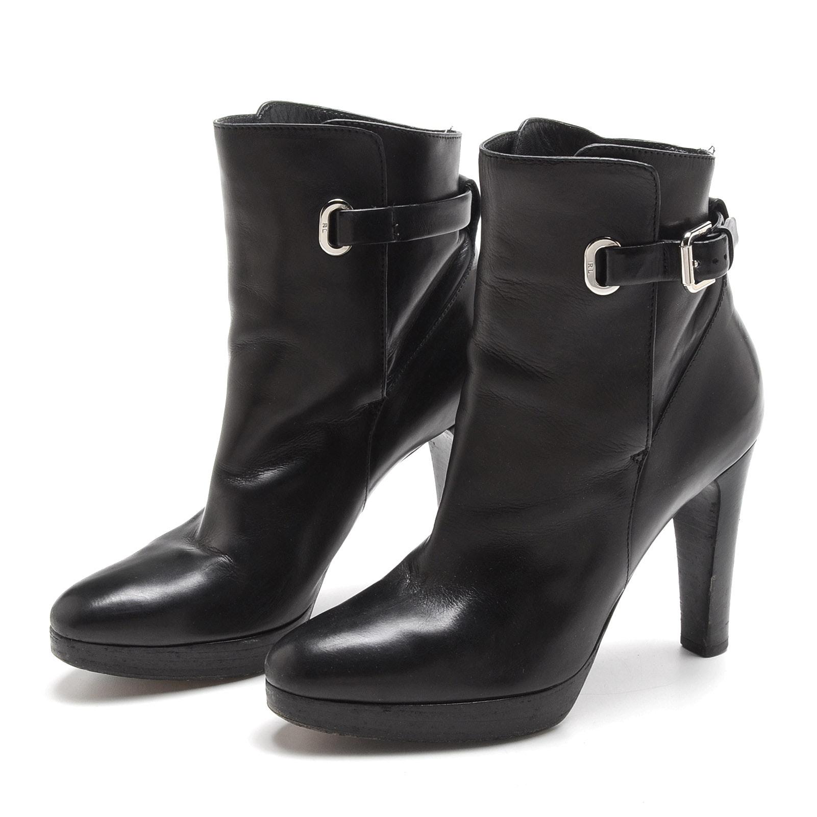 Pair of Ralph Lauren Collection Black Lambskin Leather Platform Booties
