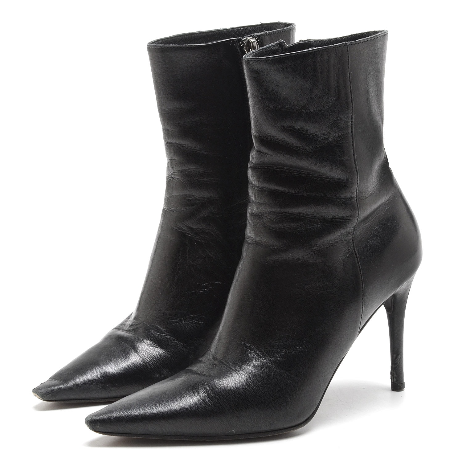 Pair of Gucci Black Lambskin Leather Booties