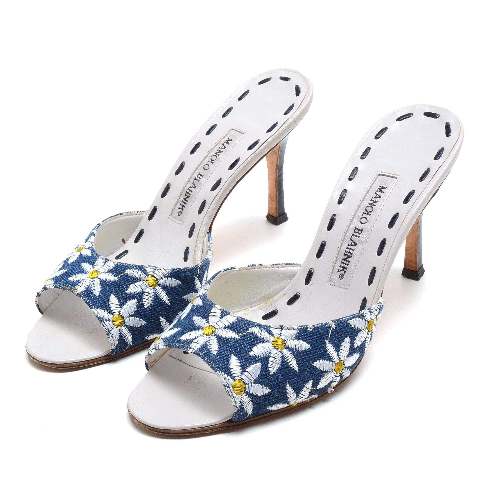 Manola Blahnik Floral Embroidered Open Toe Slide Dress Sandals