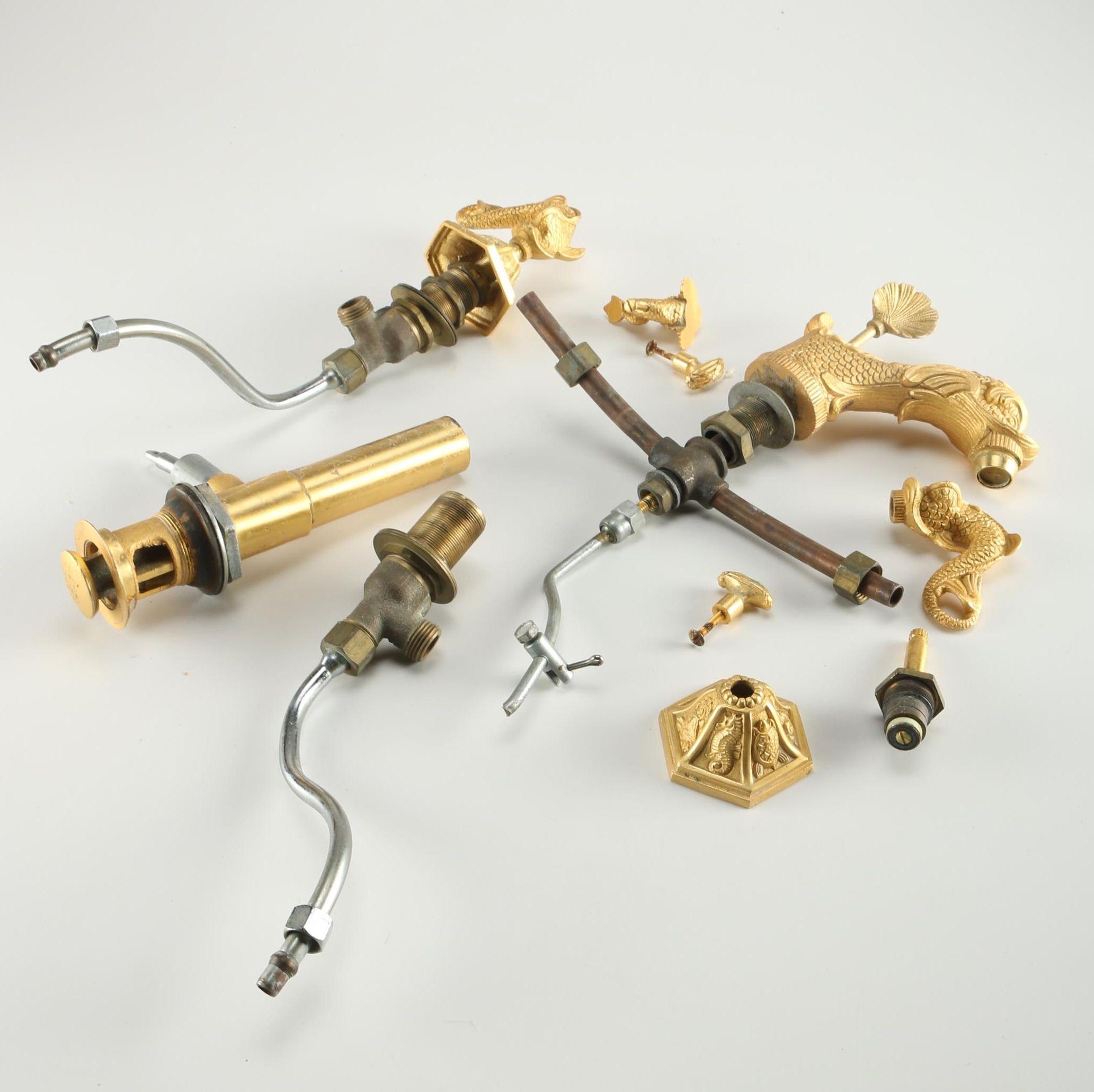 Three Piece Gold Tone and Brass Bathroom Faucet EBTH