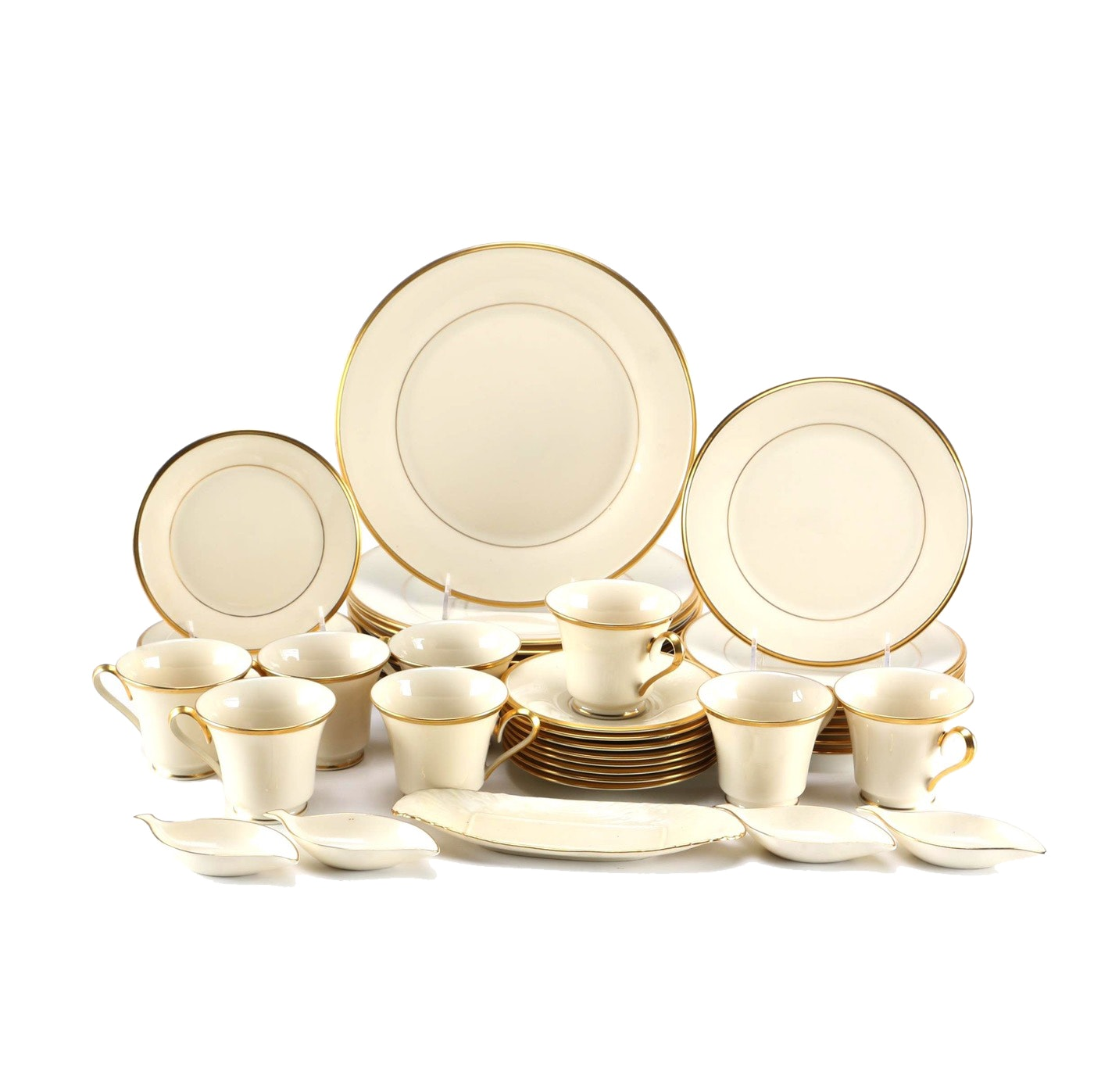 "Set of Lenox ""Eternal"" Porcelain Tableware with 24K Gold"