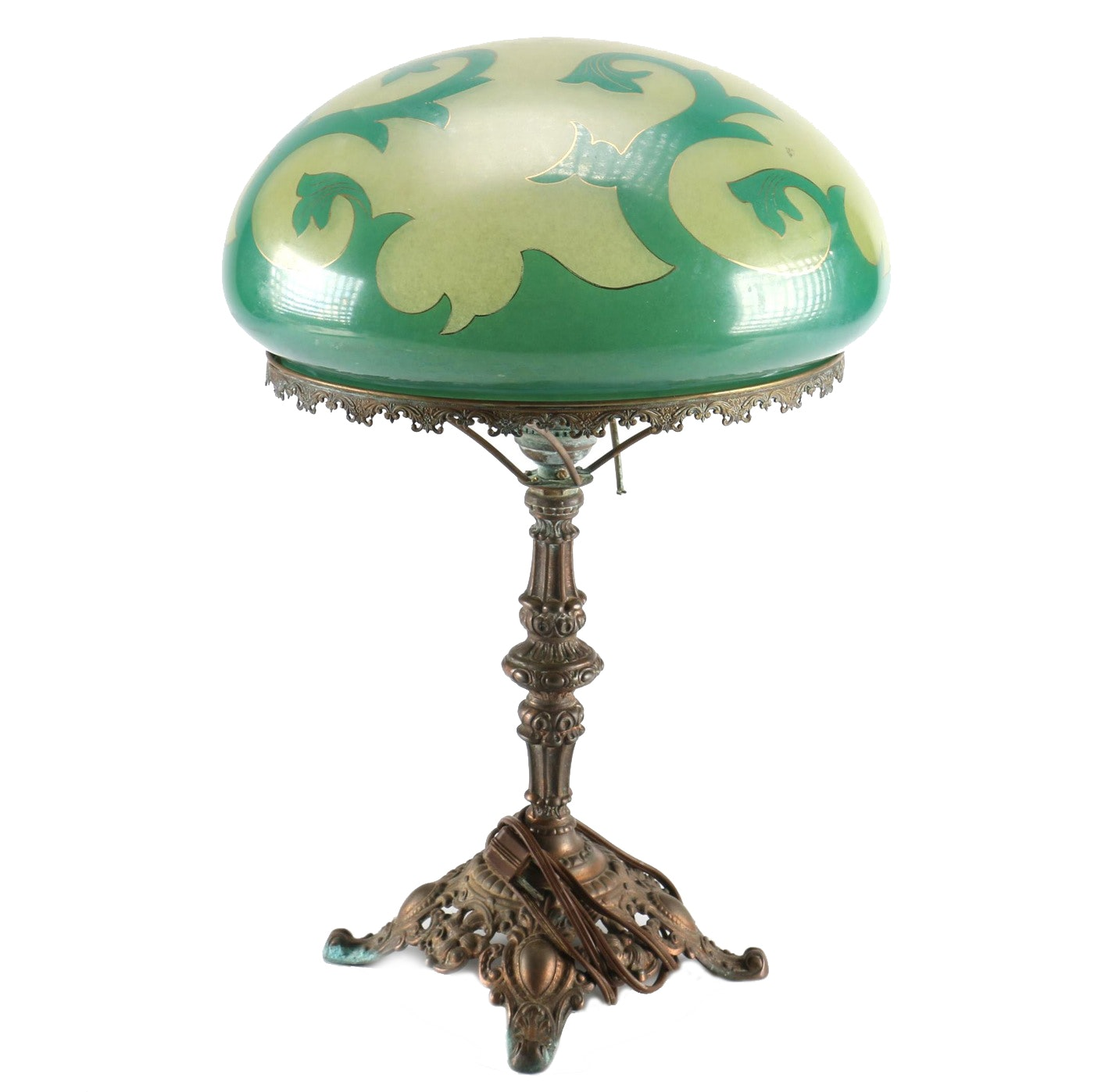 Art Nouveau Style Copper Alloy Table Lamp With Green Mushroom Glass Shade