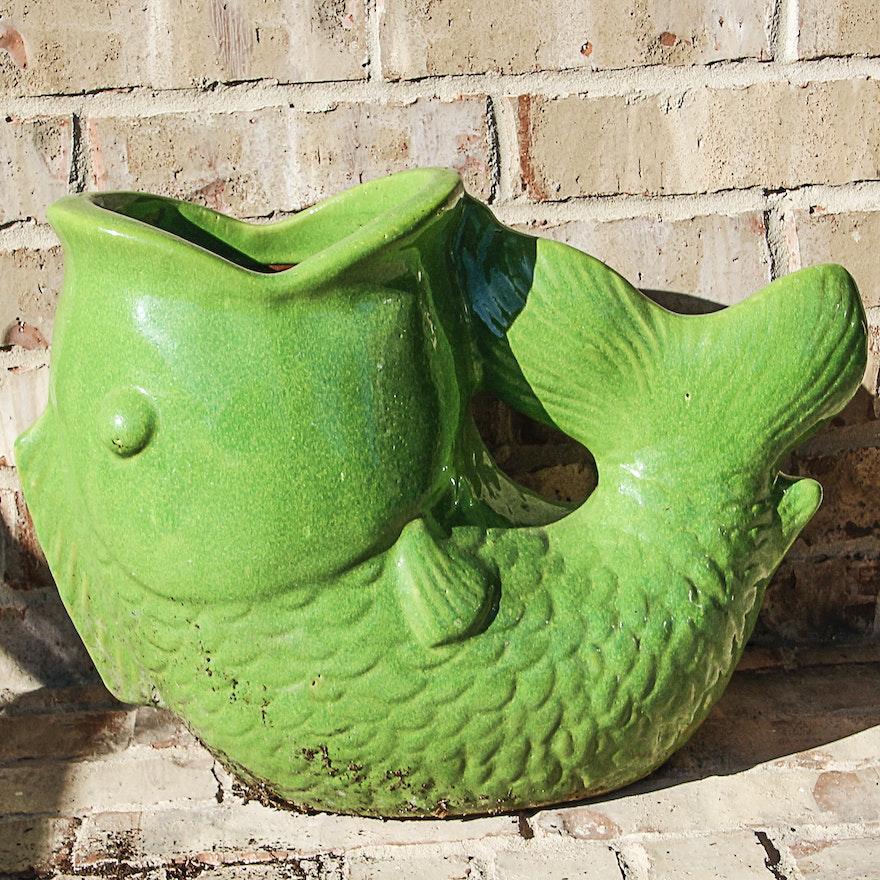 Large Ceramic Fish Planter Ebth