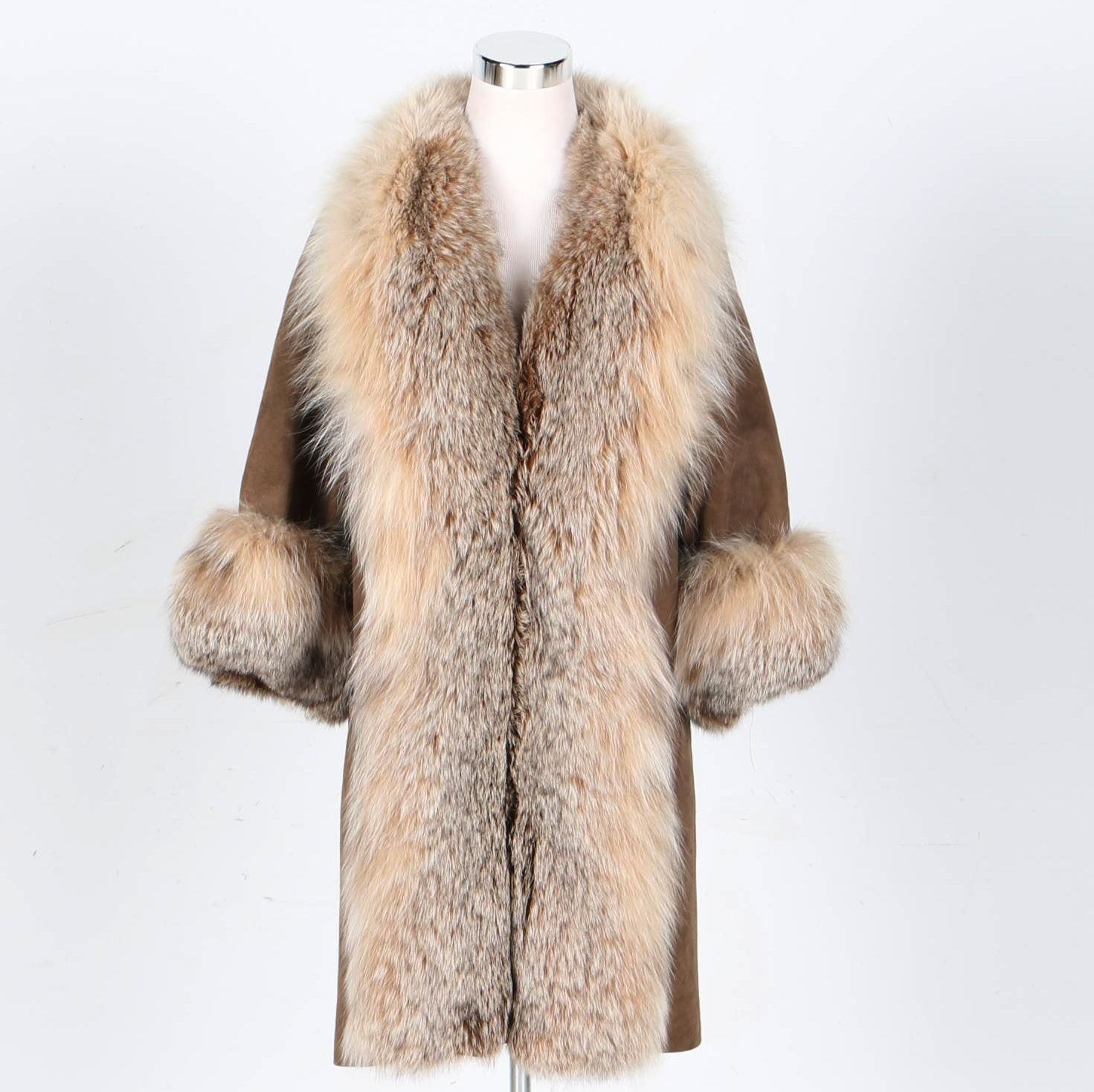 Full-Length Suede and Fox Fur Coat