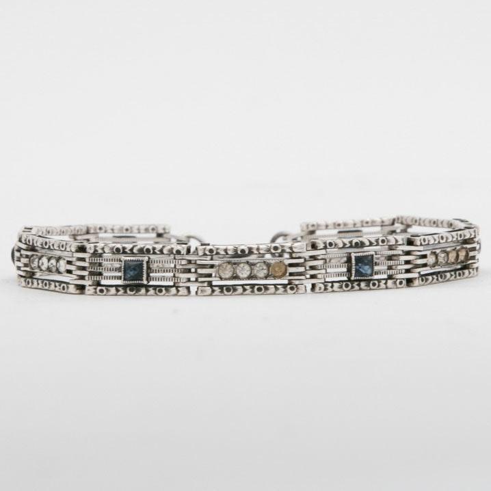 Vintage Wells Sterling Silver, Sapphire and Crystal Bracelet