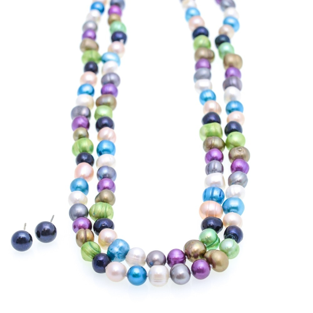 Cultured Freshwater Pearl Strand and Earrings
