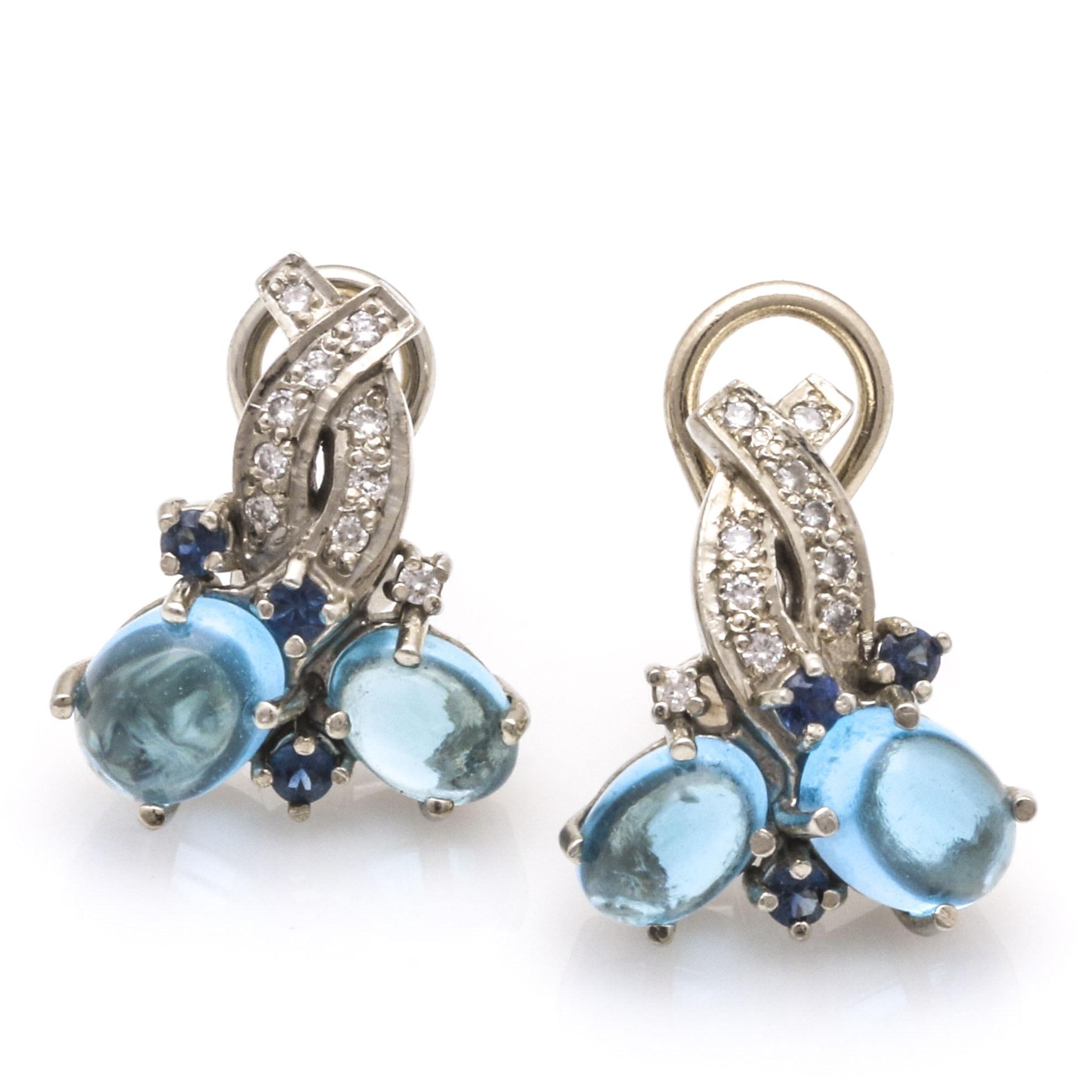 14K White Gold Diamond, Sapphire and Topaz Earrings