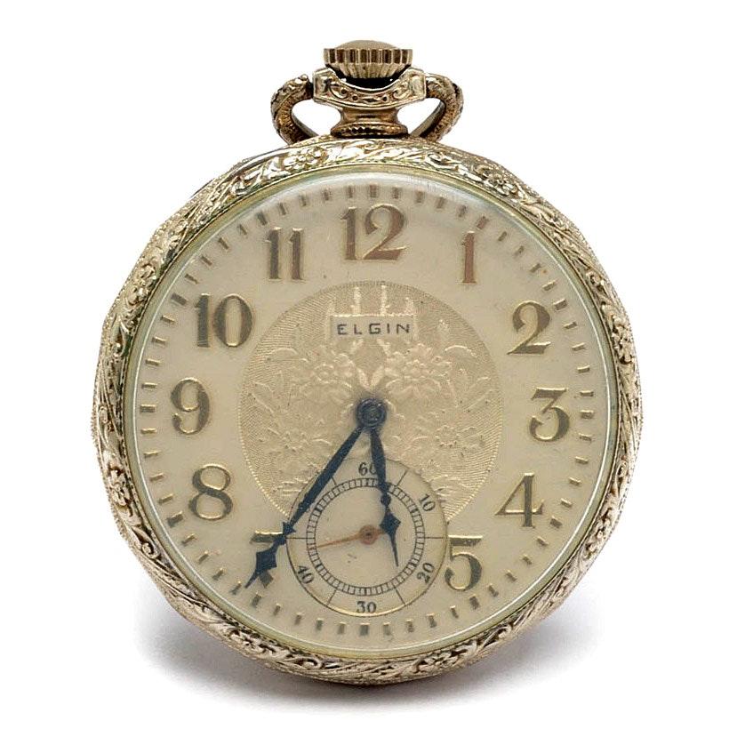 Vintage 14K White Gold Filled Elgin Open Face Pocket Watch