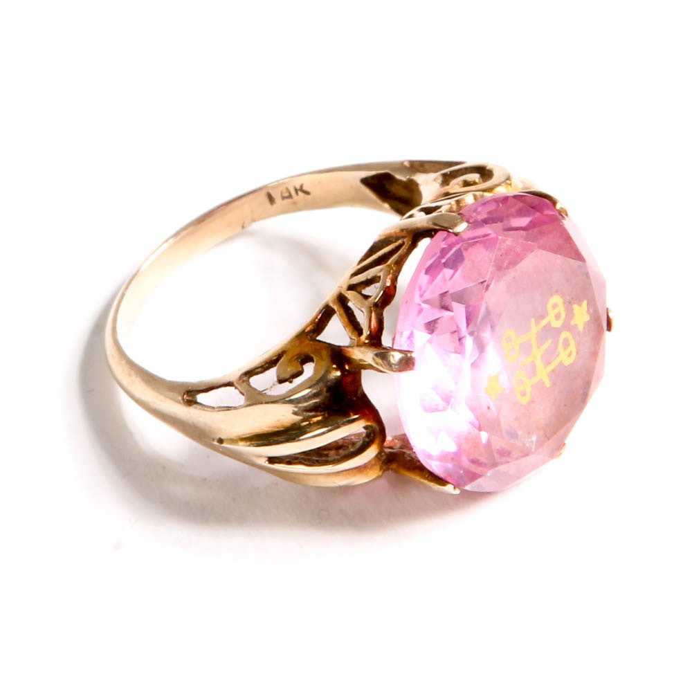 18K Yellow Gold and Pink Sapphire Ring